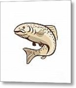 Rainbow Trout Jumping Cartoon  Metal Print