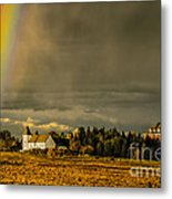 Rainbow Over The Tower Metal Print