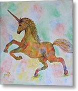 Rainbow Unicorn In My Garden Original Watercolor Painting Metal Print