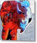 Rainbow Warrior Bison Metal Print