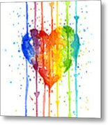 Rainbow Watercolor Heart Metal Print