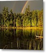 Rainbows Over Otter Lake Metal Print by Thomas Pettengill