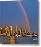 Rainbows Over The New York City Skyline Metal Print by Susan Candelario