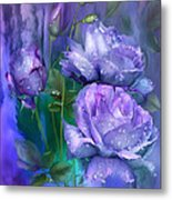 Raindrops On Lavender Roses Metal Print