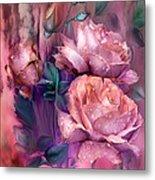 Raindrops On Peach Roses Metal Print