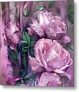 Raindrops On Pink Roses Metal Print