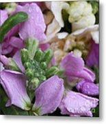 Raindrops On Purple And White Flowers Metal Print