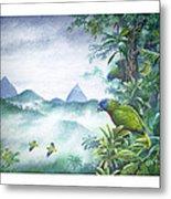 Rainforest Realm - St. Lucia Parrots Metal Print