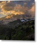 Rainier Evening Skies Drama Metal Print