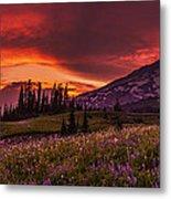 Rainier Fire Mountain Panorama Metal Print