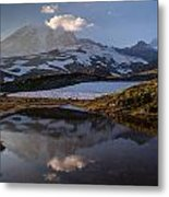 Rainier Reflected In A Glacial Tarn Metal Print