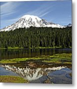 Rainier's Reflection Metal Print
