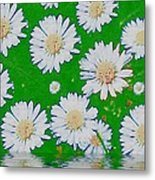 Raining White Flower Power Metal Print
