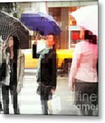 Rainy Day In The City - Blue Pink And Polka Dots Metal Print