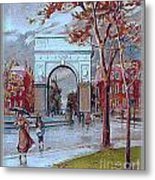 Rainy Day In Washington Square- New York City- 1905 Metal Print