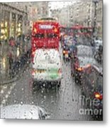 Rainy Day London Traffic Metal Print