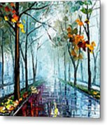 Rainy Day - Palette Knife Oil Painting On Canvas By Leonid Afremov Metal Print