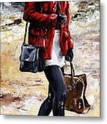 Rainy Day - Woman Of New York 09 Metal Print by Emerico Imre Toth