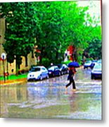 Rainy Days And Mondays Girl Running With The Blue Umbrella Montreal Art City Scenes Carole Spandau Metal Print