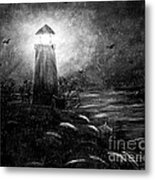 Rainy Night At The Lighthouse Metal Print