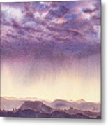 Rainy Sunset In New Mexico Metal Print