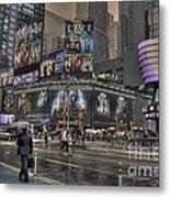 Rainy Times Square Metal Print