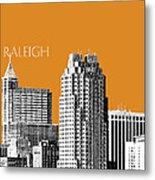 Raleigh Skyline - Dark Orange Metal Print