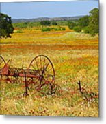 Ranch And Wildflowers And Old Implement 2am-110547 Metal Print