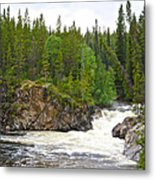 Rancheria Falls Along Alaska Highway In Yk-canada   Metal Print