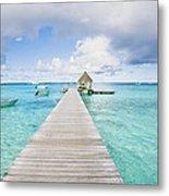 Rangiroa Atoll Pier On The Ocean Metal Print
