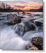 Rapids On Sunset Metal Print by Davorin Mance