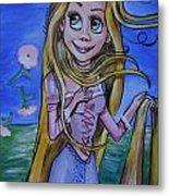 Rapunzel In A Botticelli Style Metal Print