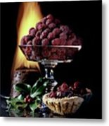 Raspberries In A Glass Serving Dish With Tarts Metal Print