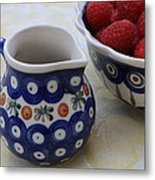 Raspberries With Cream Metal Print