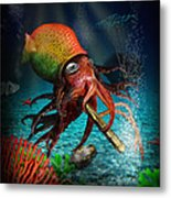 Rasta Squid Metal Print
