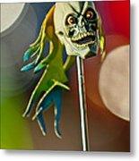 Rat Rod Antenna Skull  Metal Print