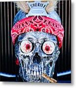 Rat Rod Skull Hood Ornament 2 Metal Print