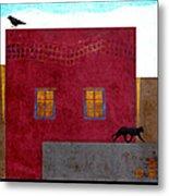 Raven And Cat Metal Print