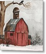 Raven And The Red Barn Metal Print