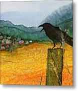 Raven And The Village 2 Metal Print