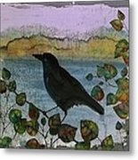 Raven In Colored Leaves Metal Print
