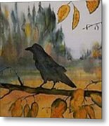 Raven In Orange Birch Metal Print by Carolyn Doe