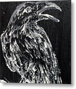 Raven On The Branch - Oil Painting Metal Print