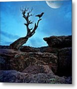 Raven On Twisted Tree With Moon Metal Print