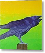 Raven Singing Metal Print