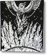 Raven Stealing Fire From The Sun - Woodcut Illustration For Corvidae Metal Print