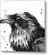 Raven Watercolor Portrait Metal Print