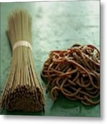 Raw And Cooked Pasta Metal Print
