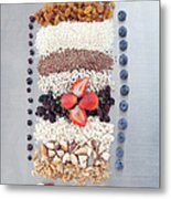 Raw Nuts, Fruit And Grains Metal Print