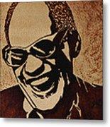 Ray Charles Original Coffee Painting Metal Print